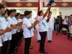 Lis Saat Mengahdiri Pelantikan Pengurus KNPI Kota Tanjungpinang. Foto NOVENDRA