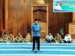 Bupati Natuna Hamid Rizal Saat Menyampaikan Sambutannya Diacara Pelepasan JCH Natuna