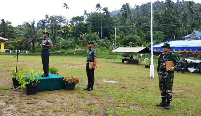 Danrem 033 WP Brigjen TNI Gabriel Lema Saat Memimpin Upacara Penutupan TMMD 102 di Wilayah Kodim 0318 Natuna
