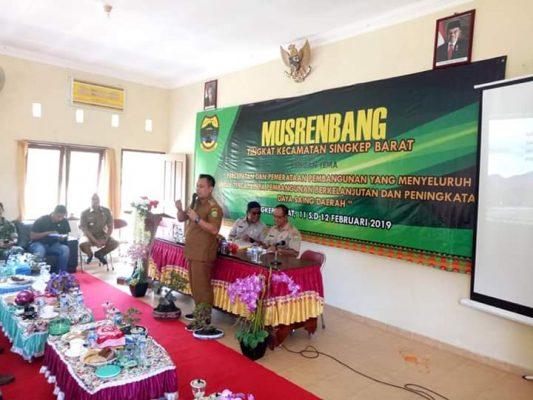 Wabup Lingga M.Nizar saat mennyampaikan kata sambutan di pelaksanaan Musrenbang Tahun 2020