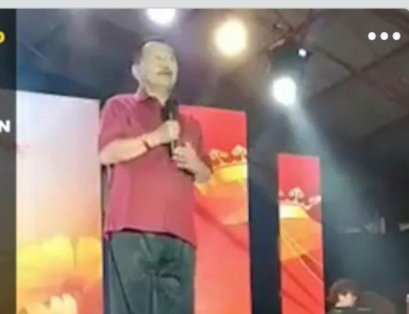 Bobby Jayanto saat pidato di Acara Do'a Keselamatan Laut di Pelantar 2 Tanjungpinang