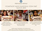 Siswa tingkat SMP yang meraih prestasi di OSN SMP Tingkat Nasional di Jogyakarta