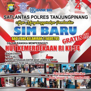 Pengumuman informasi SIM Gratis bagi warga yang lahir pada 17 Agustus oleh Polres Tanjungpinang