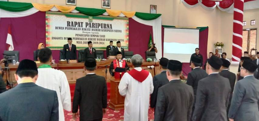 Pengambilan Sumpah Jabatan DPRD Kabupaten Natuna Masa Jabatan 2019 – 2024