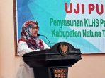Hj Ngesti Yuni Suprapti Saat Membuka Kegiatan Uji Publik Penyusunan KLHS Perubahan RPJPD Natuna 2005-2025