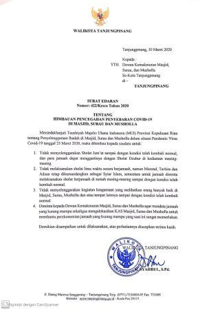 Surat Edaran (SE) yang dikeluarkan Walikota Tanjungpinang H Syahrul S.Pd
