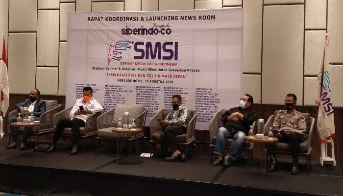 Ketua Umum SMSI, Firdaus Saat Launching Newswroom Siberindo di Bengkulu