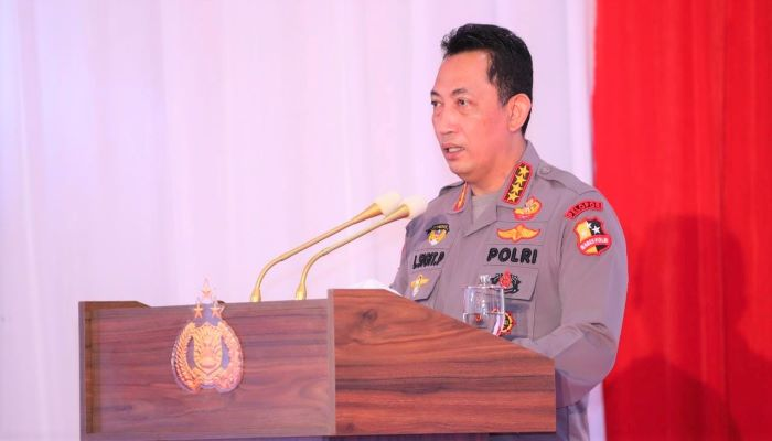 Kapolri Jendral Polisi Listyo Sigit Prabowo Saat Membuka Rakernis Fungsi Lantas