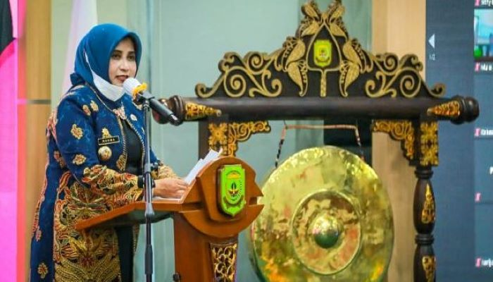 Wali Kota Tanjungpinang, Rahma Saat Menyampaikan Sambutannya Diacara Musrenbang dan Penyusunan RKPD 2022