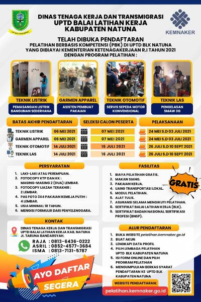 Brosur Pelatihan Berbasis Kompetensi di UPTD BLK Natuna